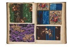 Echantillons de mousseline de laine imprimée ; album en carton, toile de lin, papier Frace 1853