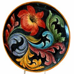 Rustica Gift & Pottery Talavera & Mayolica artisan-crafted tableware, gift & home decor: The Flores Mayolica dinner plate is a beautiful addition to your tableware. Pottery Painting, Tole Painting, Ceramic Painting, Mexican Artwork, Tuile, Painting Studio, Hand Painted Ceramics, Folk Art, Art Pieces