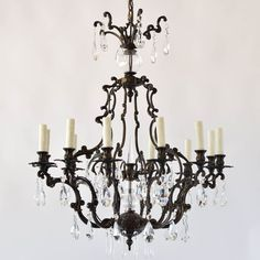 Italian Rococo Bronze Chandelier with Crystal