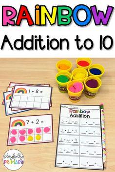 Frames for addition Rainbow Playdough Ten Frame Activities, Rainbow Activities, Kindergarten Math Activities, Montessori Activities, Kindergarten Classroom, Math Games, Preschool Activities, Math Math, Math Fractions