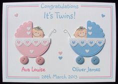 Personalised Handmade New Baby Card - TWINS #Congratulations