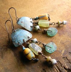 Rustic Roman Glass Earrings Copper African Yellow by ChrysalisToo, $55.00