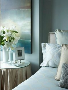 Spa Blue and Beach Glass Green { #home #decor #paint #blue #green #bedroom. Like the painting and the vase of white lilies.