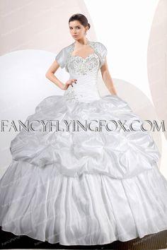 9a6b09d5e17 Classy White Taffeta Ball Gown Quinceanera Dress With Bolero