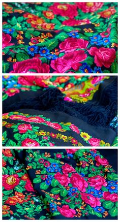 One Russian shawl is a beautiful thing to behold; several of them can be so gorgeous, they almost hurt the eye! Who can be indifferent to this kind of beauty? a pile of amazing vintage Russian shawls, full of flowers, leaves and branches, glowing bright in the black background? I think they are amazing! See more on the blog.