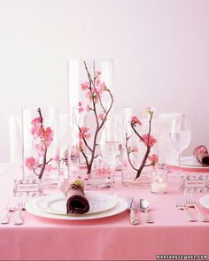 Cherry Blossom - Quince branches enclosed in glass cylinders create a sculptural centerpiece that's grand but airy, so conversation can flow. Inexpensive Wedding Centerpieces, Pink Wedding Centerpieces, Wedding Table Flowers, Wedding Decorations, Quinceanera Decorations, Quinceanera Party, Table Decorations, Cherry Blossom Centerpiece, Cherry Blossom Party