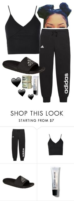 """Untitled #241"" by bxbysnoop ❤ liked on Polyvore featuring adidas, Topshop and Bobbi Brown Cosmetics"