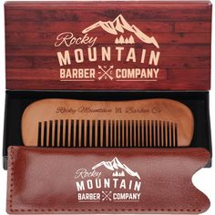 Mustache Comb - Wood with Fine and Medium Tooth for Mustache, Beard, with Carrying Case for Travel and Pocket - Anti-Static and No Tangle -- Be sure to check out this awesome product.