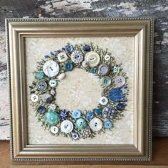 Antique Button Wreath with hand
