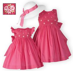 Fuchsia Floral Smocked Dress The Wooden Soldier Exclusive Charming girls' dresses of soft fuchsia organdy have beautifully hand-smocked bodices with floral bouquet embroidery. Button backs with tie back sashes. Fully lined. Girls Smocked Dresses, Girls Easter Dresses, Little Girl Dresses, Moda Kids, Frocks For Girls, Miss Dress, Smock Dress, Kind Mode, Smocking