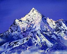 Everest mountain original oil painting, White mountain oil painting, Mountain in clouds oil painting, Himalaya landscape oil painting Oil Painting Trees, Simple Oil Painting, Oil Painting For Beginners, Oil Painting Techniques, Oil Painting Abstract, Oil Paintings, Horse Portrait, Mountain Landscape, Famous Artists