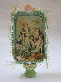 Mermaid Siren Song altered Altoid tin #beach, #altered_tin, #mermaids