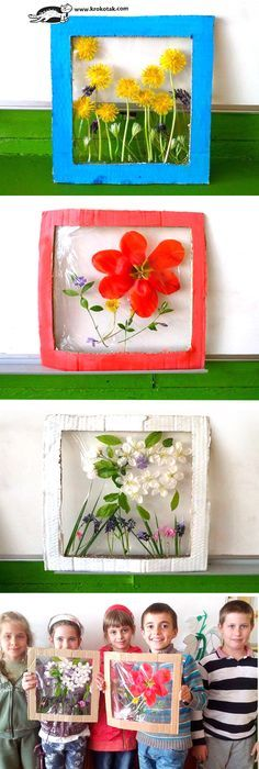 Krokotak flower panels nature craft for kids. How to make flower panels from real flowers, cardboard & plastic wrap. Spring Activities, Art Activities, Children Activities, Flower Activities For Kids, Projects For Kids, Craft Projects, Craft Ideas, Older Kids Crafts, Fun Crafts