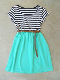 Stripes & Mint Dress