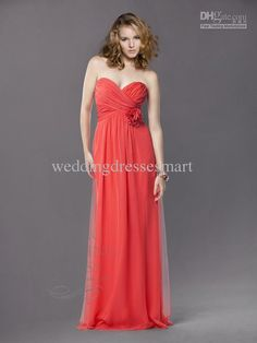 2013 New Arrival Hot Sale Cheap Charming Sexy Strapless A-line Floral Ruffle Watermelon Chiffon Bridesmaid Dreeses Party Gown for Ladies