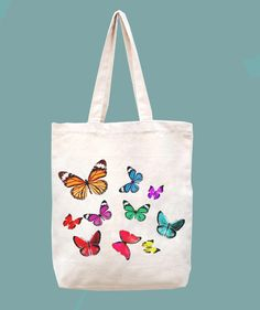 The butterfly-handmade bag/canvas bag/tote bag/canvas tote bag/shopping bag/women bag/tote bag/shoulder bag