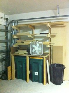 lumber storage plus extra shelf space on your trash cans!