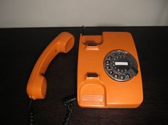 Orange Siemens Telephone Rotary 70s RARE by SweetSoulSistersShop, $30.00