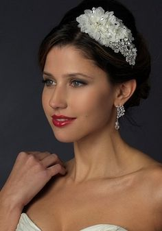 Just love this unique Crystal and Pearl Floral Side Accent Wedding Headband! affordableelegancebridal.com