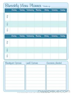 Free Printable Weekly Meal Planning Templates (and a week's worth of ...