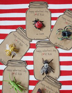 """In that spirit, these """"love bug"""" Valentines by Danyelle of [dandee] get two thumbs up from me. Long after those cheesy store-bought Valentines have been tossed, the little plastic bugs that were attached to these bug-jar cards will remain on recipients' shelves and desks. Danyelle has the jar card design available for downloading and printing, so you can make your own!"""