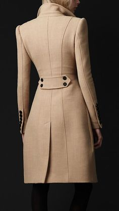 Someday I will own one of these amazing coats- Crêpe Wool Tailored Coat by Burberry Winter Coats Women, Coats For Women, Clothes For Women, Fall Coats, Mode Outfits, Fashion Outfits, Womens Fashion, Fashion Trends, Fashion Coat