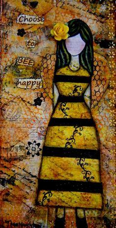Original Inspirational Mixed Media Art, Yellow, Bees, Earth Tones, Choose to BEE Happy. $55.00, via Etsy.