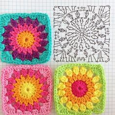 Easy to make crochet granny square pattern. Free crochet chart by Color'n cream Color 'n Cream Crochet and Dream: New Flower Square crochê passo a passo ( Crochet Flower Squares, Granny Square Crochet Pattern, Crochet Blocks, Crochet Flower Patterns, Crochet Diagram, Crochet Chart, Crochet Blanket Patterns, Crochet Granny, Crochet Motif