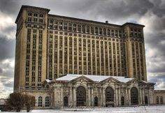 Michigan central station, Detroit, USA, abandoned in 1988, it is now falling apart