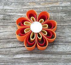 Orange Cranberry and Gold Hair Bow Flower Ribbon by leilei1202