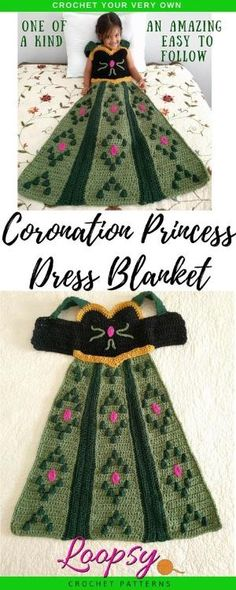 Crochet your very own Coronation Princess Dress Blanket in a Child Small size with this one of a kind pattern. This project features slip on shoulder straps perfect for children to put on and take off by themselves. Make for your own children or give as g Manta Crochet, Knit Crochet, Crochet Disney, Crochet For Beginners Blanket, Kids Blankets, Crochet Gifts, Crochet For Kids, Crochet Projects, Small Knitting Projects