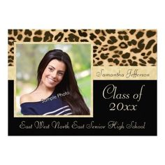 Classy Leopard Print Photo Graduation Announcement/Invitation Graduation Invitations with photo and Classy golden brown tan and black leopard print. Cute, chic, wild and feminine style for any high school girl or female graduate. Show your personal style with this beautiful photo grad invite or party invitation. #ad