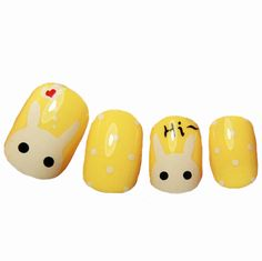 Super cute short nails the little bunny chaomeng milk yellow short fake nails Japanese manicure finished nail for cost-tmall.com days cats