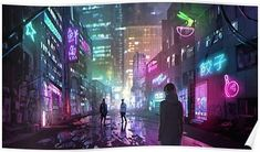 Kai Fine Art is an art website, shows painting and illustration works all over the world. Cyberpunk 2077, Cyberpunk City, Ville Cyberpunk, Cyberpunk Kunst, Cyberpunk Aesthetic, Futuristic City, Cyberpunk Anime, Neon Aesthetic, Hip Hop