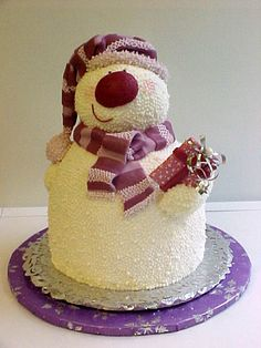 Snowman Cake design for Christmas Fancy Cakes, Cute Cakes, Pretty Cakes, Beautiful Cakes, Amazing Cakes, Christmas Treats, Christmas Baking, Christmas Cakes, Christmas Snowman