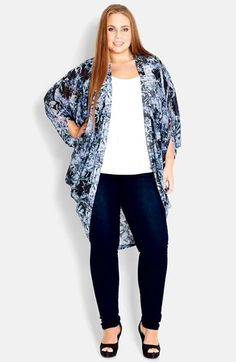 City Chic Forest Print Kimono Jacket (Plus Size) available at #Nordstrom