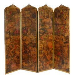 A Victorian decoupage decorated four fold screen