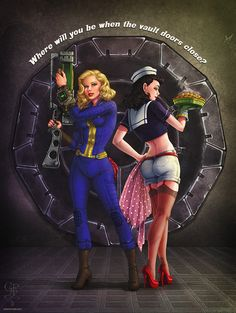 Fallout video game pin up Where were you when the Vault doors closed? Fallout Fan Art, Fallout Concept Art, Fallout Funny, Fallout Posters, Fallout Comics, Fallout Cosplay, Fall Out 4, Video Game Art, Video Games