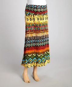 Look at this #zulilyfind! Green & Red Tribal Maternity Maxi Skirt by Mom & Co. #zulilyfinds