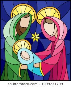 Illustration of Illustration in stained glass style on biblical theme, Jesus baby with Mary and Joseph, abstract figures on blue background, rectangular image vector art, clipart and stock vectors. Glass Painting Patterns, Stained Glass Patterns, Christmas Nativity Scene, Christmas Art, Christian Artwork, Christmas Paintings, Religious Art, Mosaic Art, Stone Painting