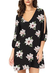 d9bd262f36b Noctflos Women Casual Summer Floral Shift Dress Cold Shoulder Sleeves Tunic  at Amazon Women's Clothing store