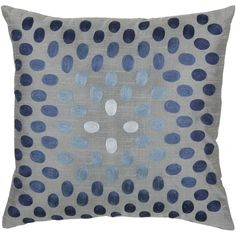 Oral Delight Pillow Cover with Hidden Zipper and Poly Filler Insert in Blue and Gray