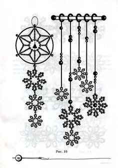Beaded Snowflake hanging ideas, easy patterns to figure out
