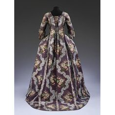 This sack-back - or robe à la francaise - is typical of gowns worn for formal or full dress occasions between the 1750s and 1770s. They were made to be worn over hoops or paniers, and the wide expanse of the skirts and the fullness of the back showed off the elaborate and expensive fashionable patterned silks of these decades. The cut of the gown altered gradually over time, whereas silk patterns changed seasonally, revealing how up-to-date the wearer was.