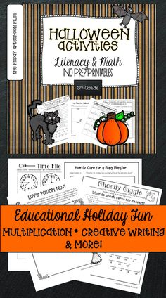 This collection of Halloween activities includes printables for math and literacy fun! If you are looking for an easy, educational way to bring a little Halloween into your classroom, look no further!