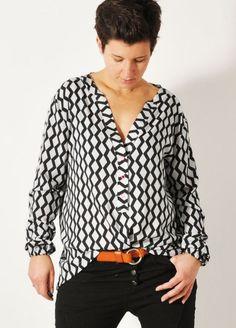 Die Bluse kann kurz oder lang als Kleid getragen werden - Schnittmuster und Nähanleitung via Makerist.de
