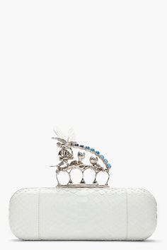 ♥ ALEXANDER MCQUEEN White Snakeskin Kyanite Dragonfly Box Clutch
