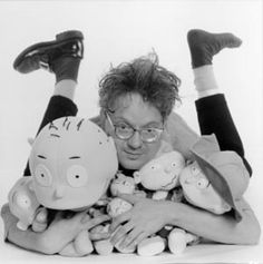 "mark mothersbaugh of devo (if you*re not familiar with devo, it might help if i tell you they*re the ""whip it"" guys.. lol*). mark is not only lead singer of devo (which is cool enough in my book! lol*), but also is a fantastic artist, & scored/scores tons of famous tv shows/movies (between ""pee-wee*s playhouse"" & ""rugrats"" alone, he basically scored my entire childhood! lol*). currently, he can be seen on ""yo gabba gabba!"" as the art teacher in the segment ""mark*s magic pictures."" cool guy…"