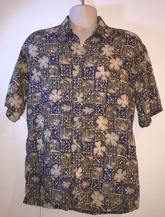 Mens Olive Green Pierre Cardin Tropical Palm Trees Floral Hawaiian Shirt L | eBay