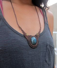 macrame necklace with labradorite via Etsy